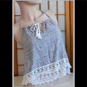 AF Sailor Stripped Crochet Fringed Top